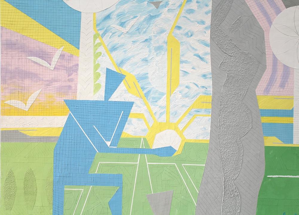 Maximilien Pellet, La mosaïque et la sculpture, détail, 2017. Enduit, colorant sur bois, 220 × 250 cm. Courtesy artiste.