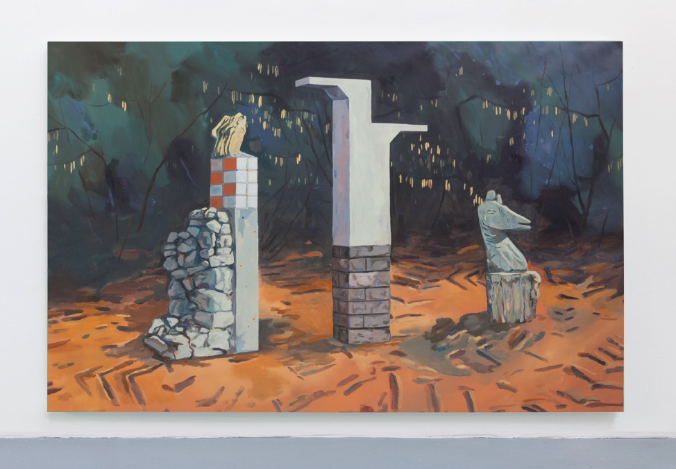 Nelly Monnier, Saint-Hippolyte-du-Fort / Mauléon / Sainte-Croix-Volvestre, 2018, huile sur toile, 285 x 185 cm