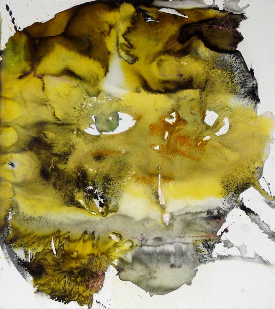 Chloé Julien, Érosion, aquarelle, sel et encres sur papier, 100 x 100 cm, 2011.
