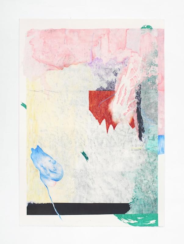 Côme Clerino, REVERS BLEU UN Transfer, acétone, acrylique, pastel, bâton à l'huile, crayon de couleur, feutre et mine graphite sur papier, 140 x 100 cm, 2017.