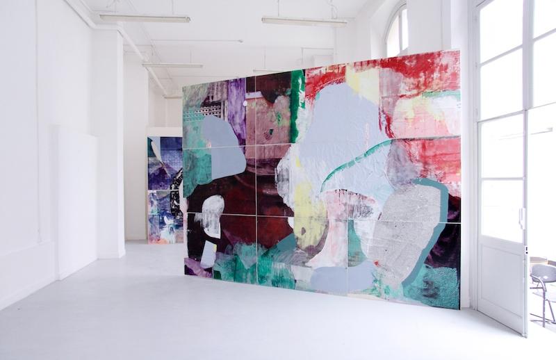Côme Clérino, 3 Rue du Débarcadère  Vue exposition [arch] Second Œuvre Techniques mixtes sur toile montée sur bois, 310 x 420 cm, 2016.