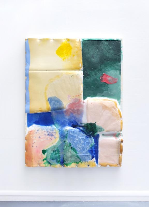 Côme Clerino, SALVAGE 2, 2018. Mousse, résine acrylique, résine polyester, fibre de verre, parafine, gomme laque liquide, acrylique, colle vinylique, cuir, latex et bois 160 x 120 cm 2018-06-30