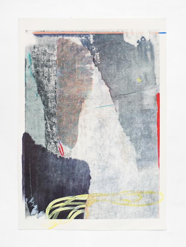 Côme Clérino, REVERS BLEU DEUX  Transfer, acétone, acrylique, pastel, bâton à l'huile, crayon de couleur, feutre et mine graphite sur papier, 140 x 100 cm, 2017.