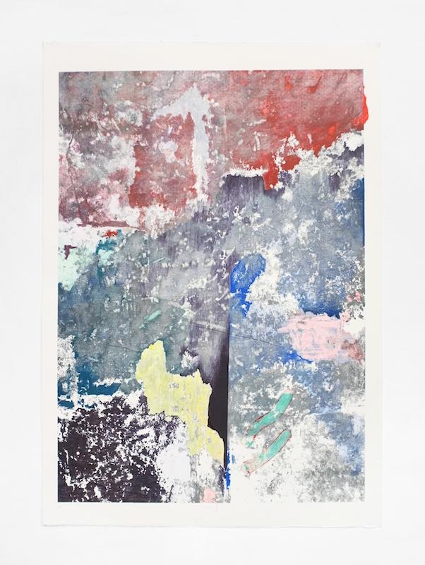 Côme Clerino, REVERS BLEU TROIS  Transfer, acétone, acrylique, pastel, bâton à l'huile, crayon de couleur, feutre et mine graphite sur papier, 140 x 100 cm, 2017