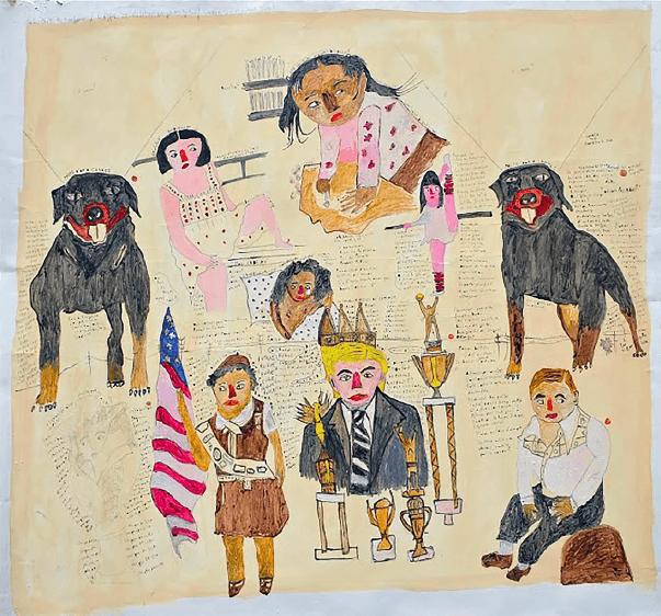 Daphné Lalonde, Palme d'or à Cannes, 2014. Acrylique et encre sur papier toilé, 140 x 160 cm. Courtesy Galerie Valérie Delaunay. Photo Philippe Bonan