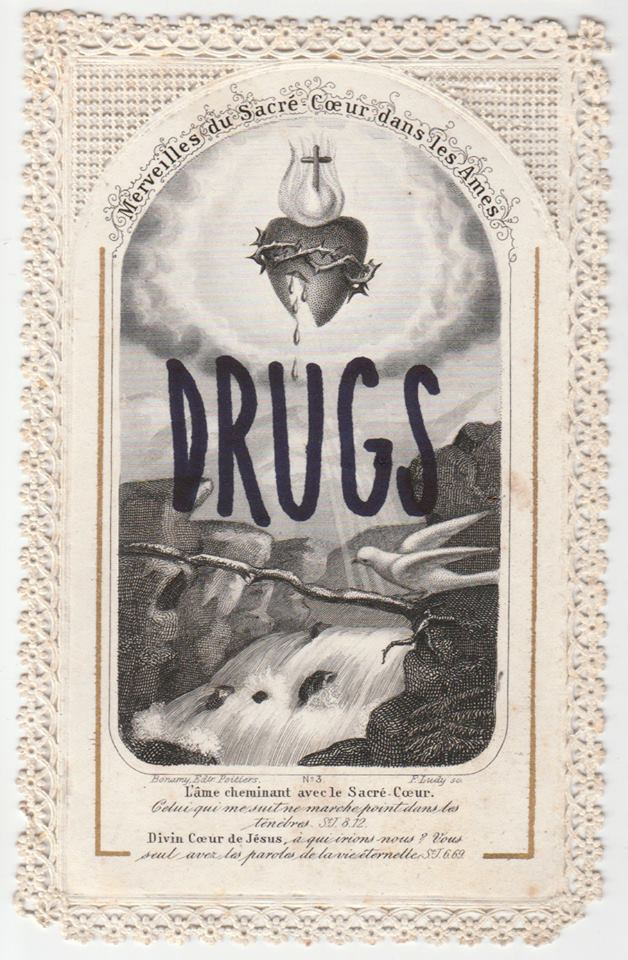 Léo Dorfner, Drugs, Feutre sur carte pieuse, 2018. Collection privée.