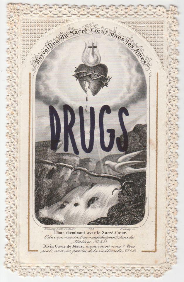 Léo Dorfner,Drugs, Feutre sur carte pieuse, 2018. Collection privée.