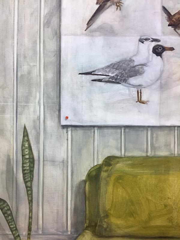 Nathanaëlle Herbelin, (La conférence des) Oiseaux de Paris et de sa banlieue (détail), 2018, huile sur toile, 160 x 180 cm ©In-box,Photographie Nathanaëlle Herbelin