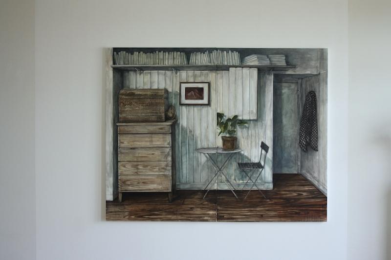 Nathanaëlle Herbelin, Espèce d'espace, 2018, oil on canvas, 160 x 208 cm