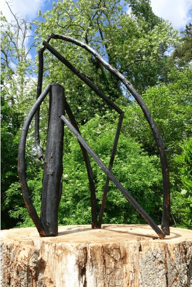Alice Raymond, Adieu à la nature (calcinée), 2017. Branches et tasseaux de bois calcinés, 140 x 30 x 40cm.Courtesy artiste.