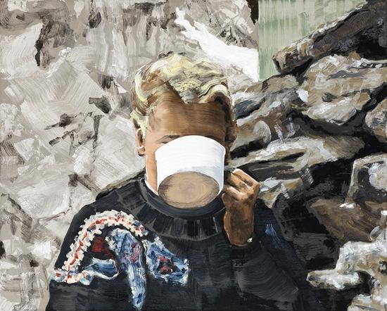 Marine Wallon, Ochsen 2018. Huile sur toile, 80 x 100 cm © Nicolas Brasseur
