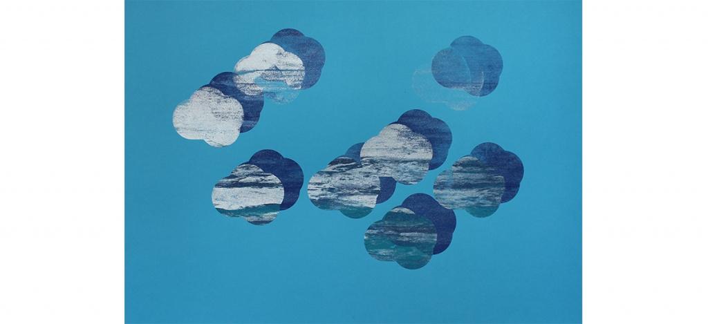 Maud Louvrier-Clerc,Ceci n'est pas un nuage ! Et vous, quel ciel souhaitez-vous créer ?2018. Sérigraphie expérimentale, tirage unique, monotype réalisé à la main par l'artiste,50 x 70 cm