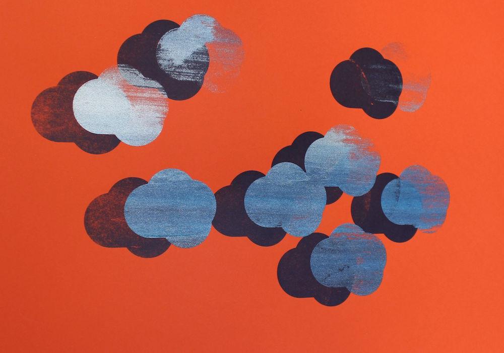 Maud Louvrier-Clerc,Ceci n'est pas un nuage ! Et vous, quel ciel souhaitez-vous créer ?2018. Sérigraphie expérimentale, tirage unique, monotype réalisé à la main par l'artiste