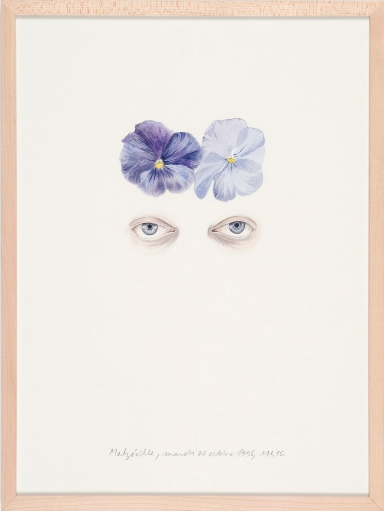 Etienne Pressager. 32. Pensées et yeux, mardi 20 octobre 1998, 1998. Aquarelle sur papier encadrée sous verre. Coll. Frac Normandie Rouen. @Adagp, Paris