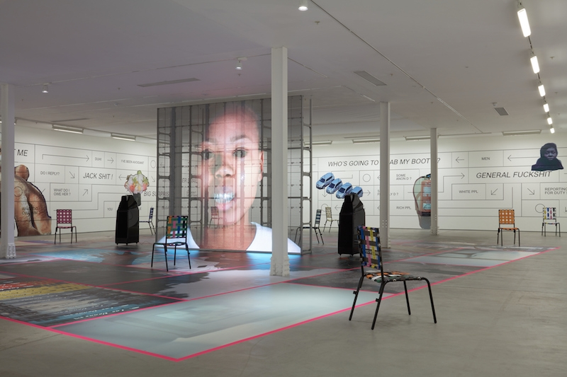Martine Syms, Installation view, Grand Calme, Kingly Street, 2018 © Sadie Coles