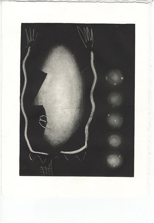 Estampe sans titre, 28 × 38 cm, gravure et monotype sur zinc, 2018