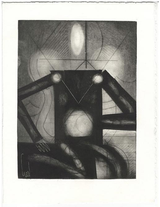 Maximilien Pellet, Estampe sans titre, 28 × 38 cm, gravure et monotype sur zinc, 2018