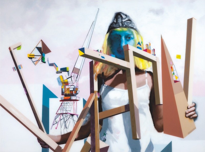 Muriel Rodolosse, L'Arpenteur, 2011. Peinture sous plexiglas, 140 x 190 cm. Production Frac Aquitaine. Courtesy artiste.