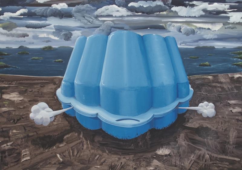 Nicolas Nicolini, La naissance, 2012. Huile et acrylique sur toile, 80 x 150 cm. Courtesy artiste.