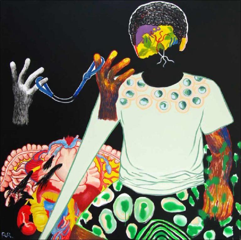 Raphaëlle Ricol,Sans titre, 2018.Acrylique sur toile - 150 x 150 cm.Courtesy Galerie Patricia Dorfmann, Paris