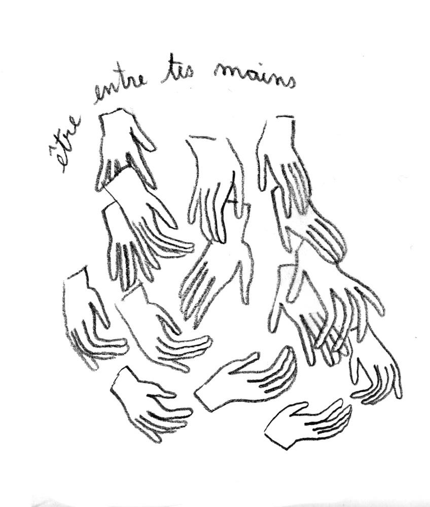 Charlotte Chauvin, Être entre tes mains.Dessin sur papier. Courtesy artiste