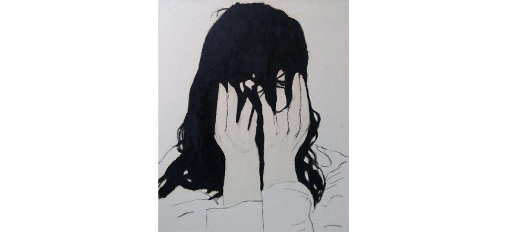 Juliette Lemontey, L'éffondrement du samouraï, 2017. Huile et fusain sur drap 60 x 50 cm