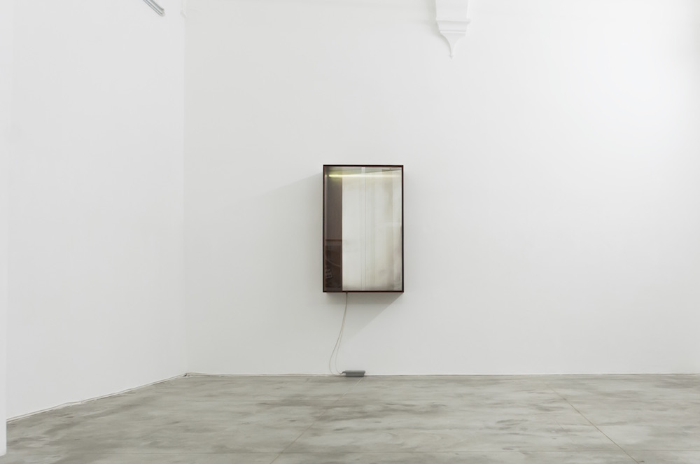 Laurent Montaron, How One Can Hide From Which Never Sets ?, 2013, bois, verre, néon, nitrate d'argent, hydroxyde de sodium, glucose, ammoniaque, acide nitrique, eau distillée,  125 x 80,2 x 34,6 cm, courtesy de l'artiste et de la galerie Anne-Sarah Bénichou