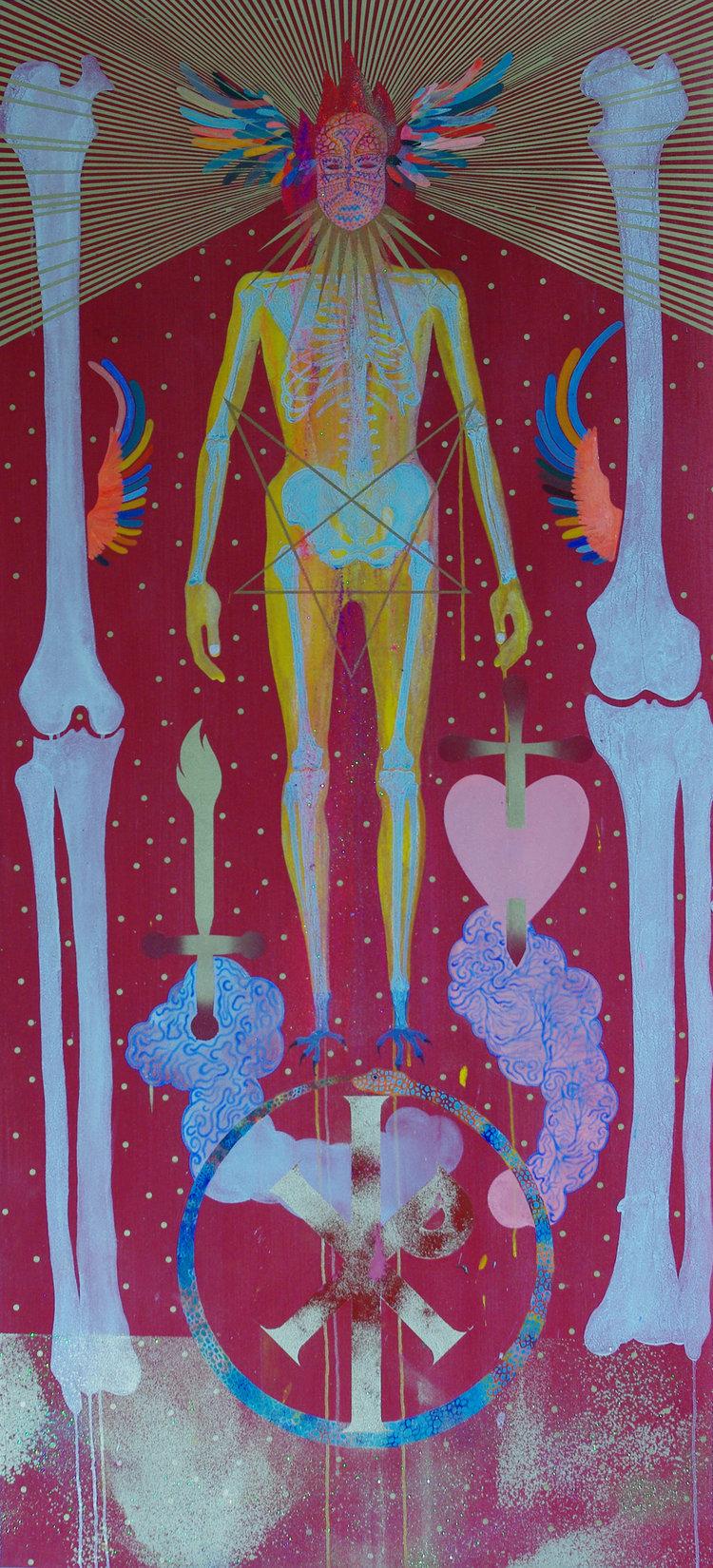Paul Mignard,odebur, 2018, pigments & paillettes sur tissu, 162 x 74 cm.Courtesy artiste