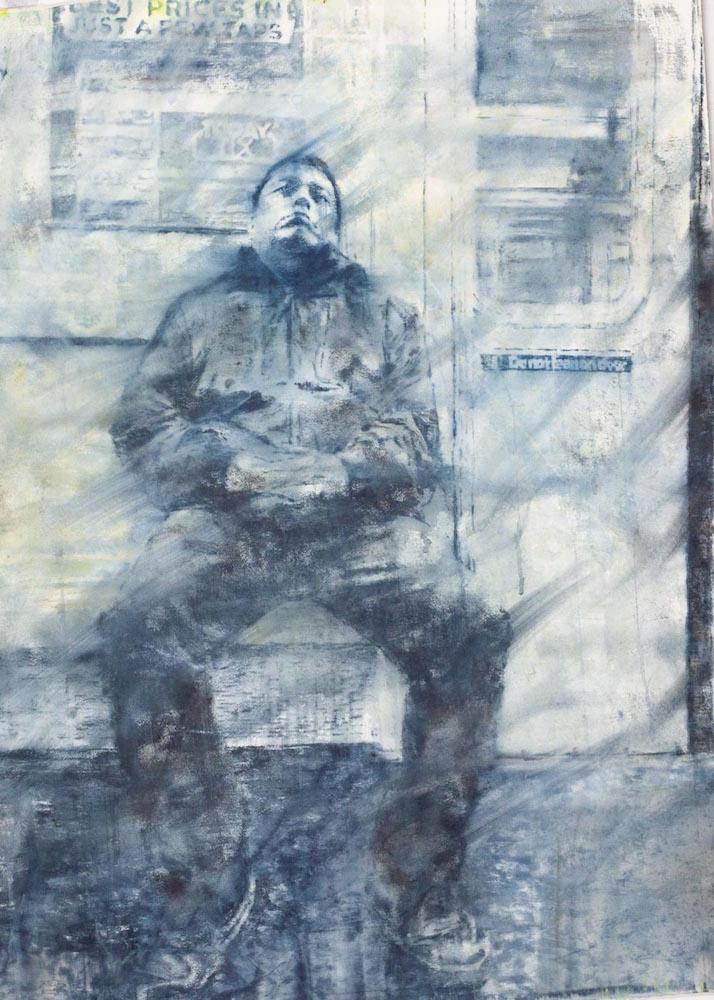 Norbert Waysberg,  Crépuscule, Subway New-York, aquarelle sur papier Arches, 120 x 80 cm. Courtesy artiste