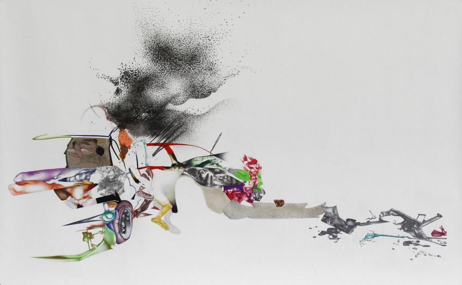 Nina Tomàs, Arrêt maniaque, 2016. Crayons, pastels, fusain, feutre et collage sur papier, 105 x 160 cm. Collection de la Commune de Strassen. Photo Nina Tomàs