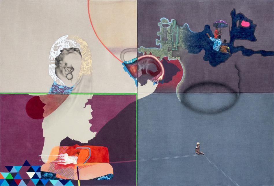 Nina Tomàs, L'arrêt, 2017. Huile, acrylique, encres, fusain, pastels et crayons sur toile, 230 x 340 cm (4 toiles de 115 x 170 cm). Collection particuilère. Photo Henri Goergen