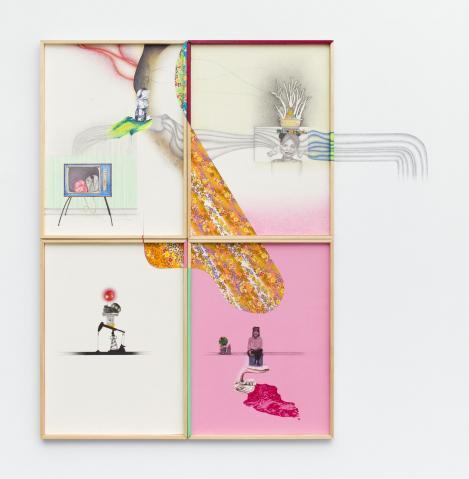 Nina Tomàs, Hors contexte 1, 2017. crayons de couleur, graphite et collage sur papier et mur, huile sur bois, 83 x 61 cm. Collection particuilère. Photo Gilles Ribero