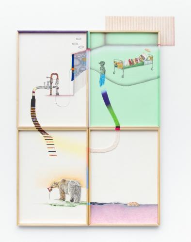 Nina Tomàs, Hors contexte 2, 2017. crayons de couleur, graphite et collage sur papier et mur, huile sur bois, 83 x 61 cm. Collection particuilère. Photo Gilles Ribero