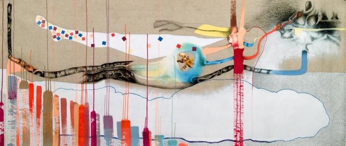 Nina Tomàs, Libération crispée, 2014. Acrylique, fusain et feutre sur toile, 91 x 210 cm. Photo Nina Tomàs