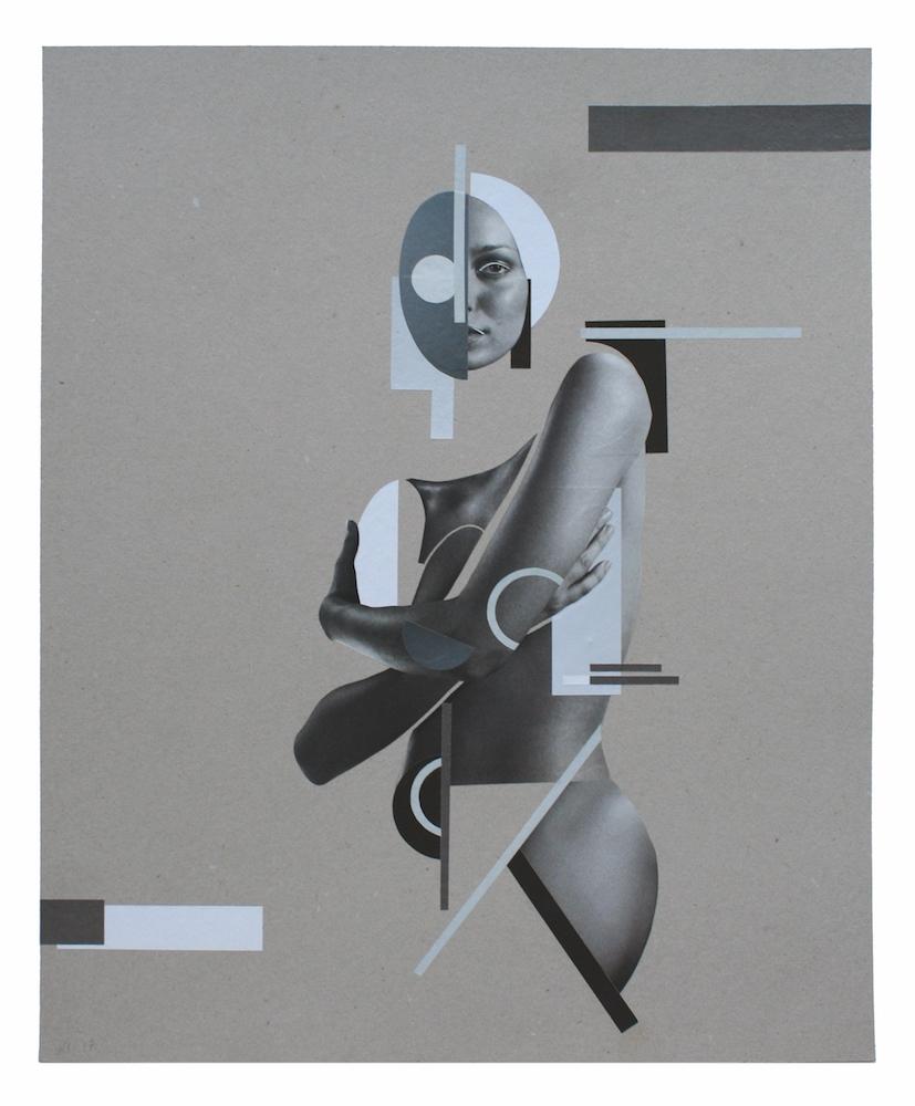 Rainier Lericolais, Collage, 2018. Découpe et collage sur carton gris, 50 x 40 cm. Courtesy artiste et URDLA