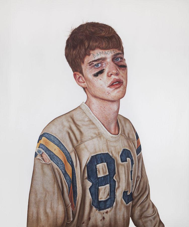 The Kid, Damaged, peinture à l'huile et tempéra à l'œuf sur toile, 242 x 211 cm, 2017, Collection privée