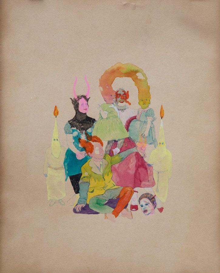 Yoann Estevenin, La sainte famille, 2018 Technique mixte sur papier ancien, 80 x 55 cm Courtesy artiste