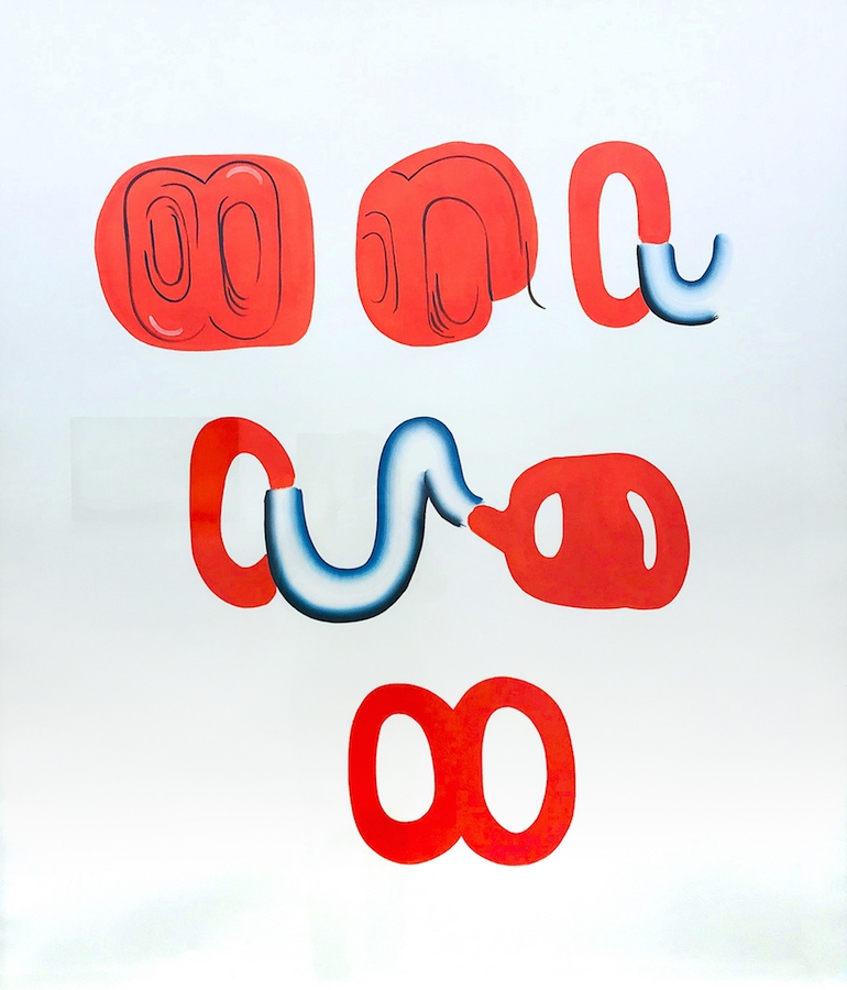Io Burgard, La contrainte du mouvement, 2018. Encre et gouache sur papier, 135 x 109 cm. Courtesy de l'artiste et Galerie Maïa Muller