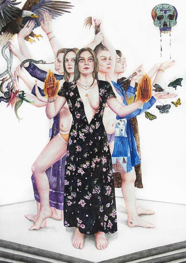 Nazanin Pouyandeh, Parvati, 2018 - techniques mixtes sur papier, 143 x 101 cm -courtesy Nazanin Pouyandeh & galerie Sator.jpg