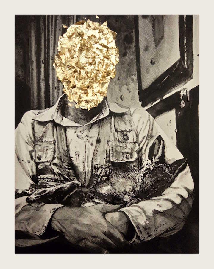 David Supper Magnou, Panser, 2019. Encre de chine, poudre de graphite et feuille d'or sur papier, 24 cm x 30 cm Courtesy de artiste et DDESSINPARIS