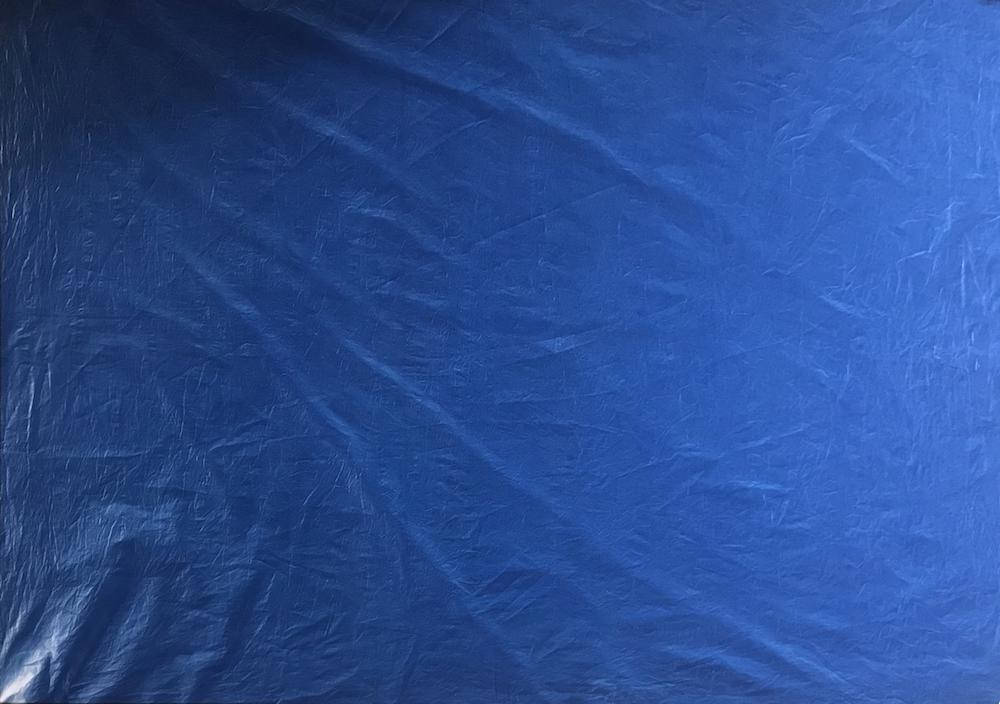 Marie Clerel, Atrani, 12/02/19 15h30, série sans titre (ciels), 2017-19 épreuve unique - 185x130 cm épreuve cyanotype sans contact sur coton blanc châssis bois, caisse américaine bois blanc