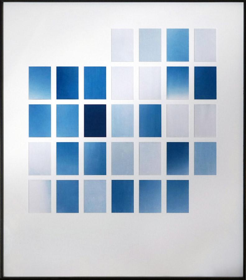 Marie Clerel, mars 2018, série Midi (2017-19), courtesy Galerie Binome pièce unique dans une édition de 2 (+1EA) - 80 x 70 cm 31 épreuves au cyanotype sans contact sur papier blanc passe-partout, encadrement aluminium et bois plaqué, verre antireflet