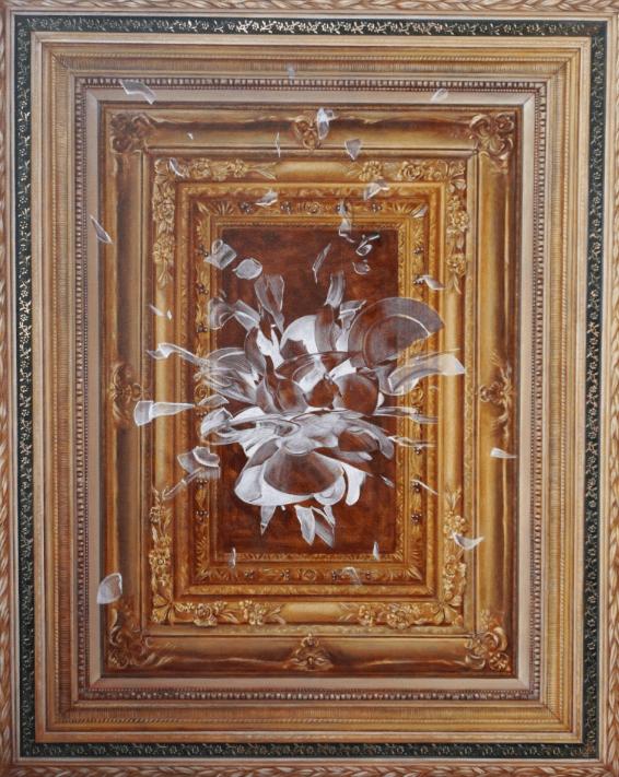 """Lucile Kessil , """"Entre temps"""", 2017, technique mixte et feuilles doré sur toile, 160x130 cm - D'après le luminaire d'Ingo Maurer """"Porca miseria"""""""