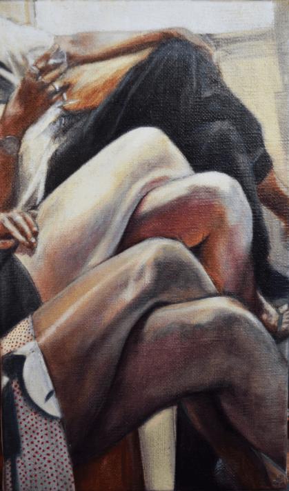 Lucile Kessil, Perspective, 2017. Série Jeux de sociétés. Huile sur toile, 27x16 cm.