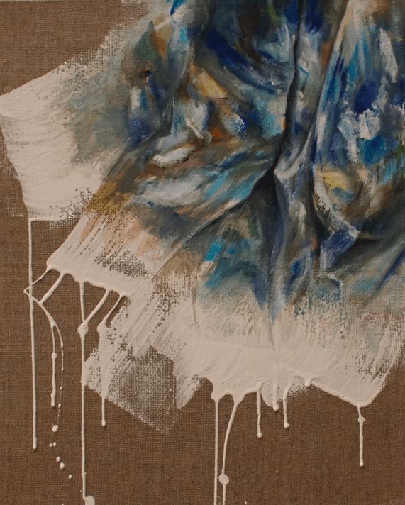 Lucile Kessil, Torchon de peintre, 2016. Série Vies silencieuses. Technique mixte sur toile de lin, 41x33 cm.