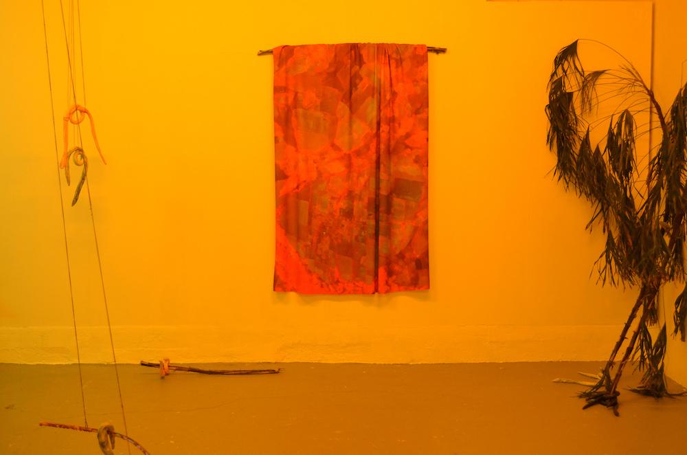 """Vue de l'exposition """"En dehors des limites du lac futur"""", solo show de Charlotte Heninger, sous le commissariat de Laëtitia Toulout à l'atelier W, Pantin"""