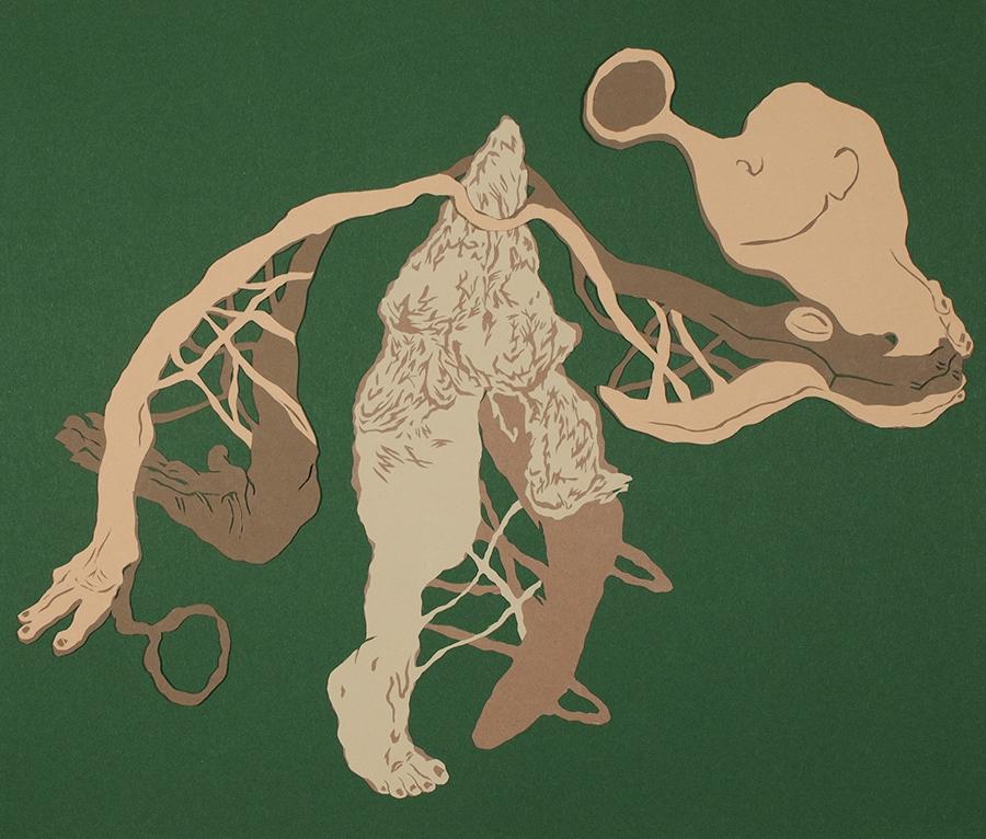 Cornelia Eichhorn, De l'Allemagne, Livre pauvre 2019. Papiers découpés collage, 50x70cm. ADAGP2019