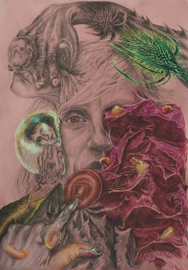 Cornelia Eichhorn, De la fixation des grandes pierres, 2017. Graphite et crayons couleurs, A4. ADAGP2017