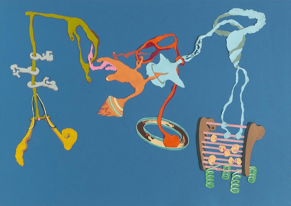 Cornelia Eichhorn, Le dard indomptable, 2019. Papiers découpés, collage, 50x70cm. ADAGP2019