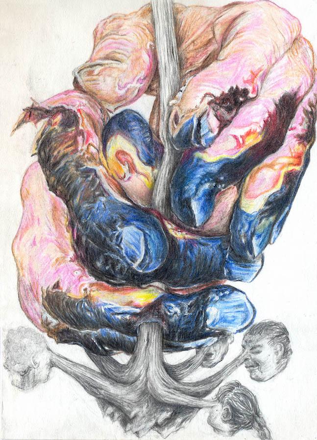 Cornelia Eichhorn, QUIRL, 2018. Crayons couleur, graphite, 10x15cm. ADAGP2018